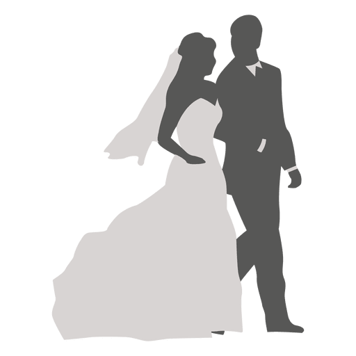 Wedding party silhouette png. Couple walking transparent svg