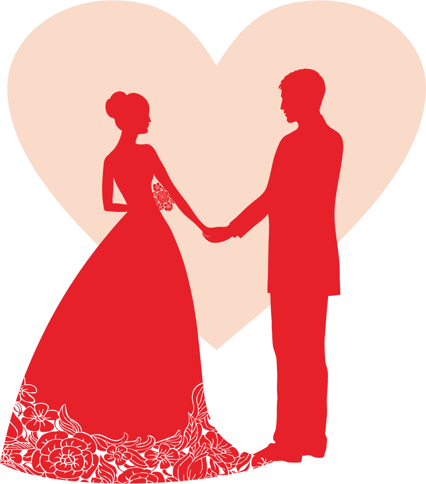Wedding party silhouette png. Invitation reception banner of