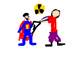Wedgie drawing cartoon character. Superman with an atomic