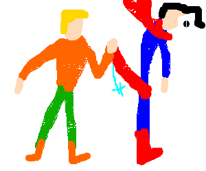 Wedgie drawing illustrations. Aquaman giving superman a