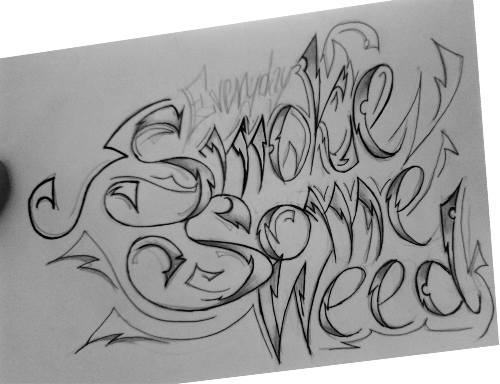 Bud drawing tattoo. Weed smoke some by