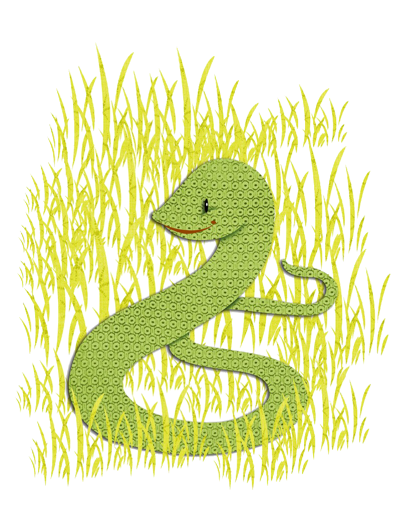 Weeds drawing grass. Snake weed a in