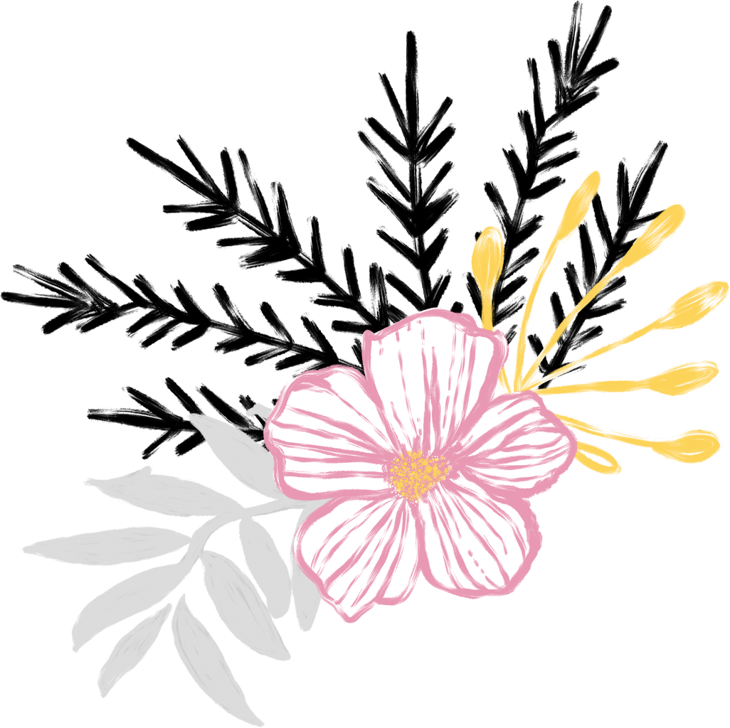 Weeds drawing flower. Floral flowers plants nature