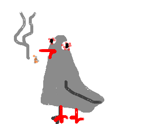 Weeds drawing stoned. Pidgeon really in weed