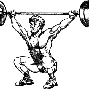 Weightlifter drawing bodybuilder arm. Dynamic fitness equipment on