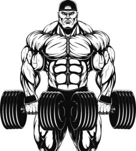 Weightlifter drawing bodybuilding. Hour personal training