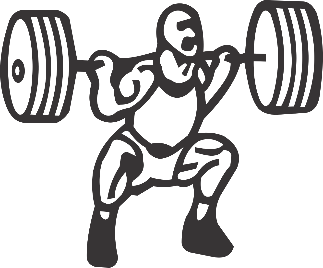Weightlifter drawing clipart. Dumbbell banner free