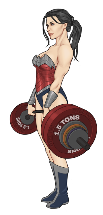 Weightlifter drawing girl crossfit. Wonder woman this is