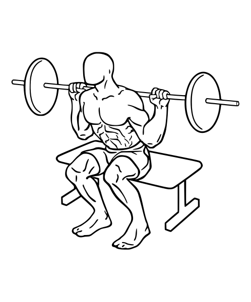 Weightlifter drawing overhead squat. How to do a