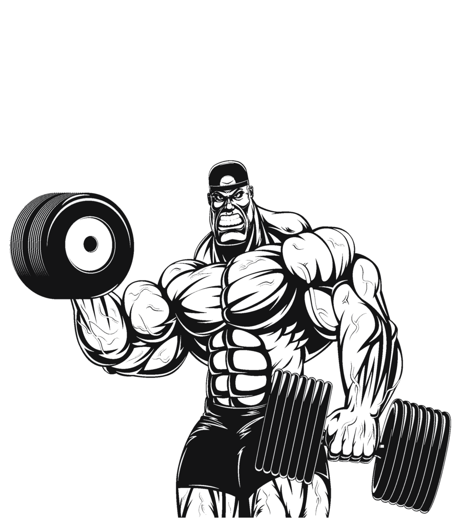Weightlifter drawing bodybuilder arm. Weightlifting transparent for
