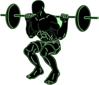Weightlifter drawing strength training. Olympic weightlifting weight plate