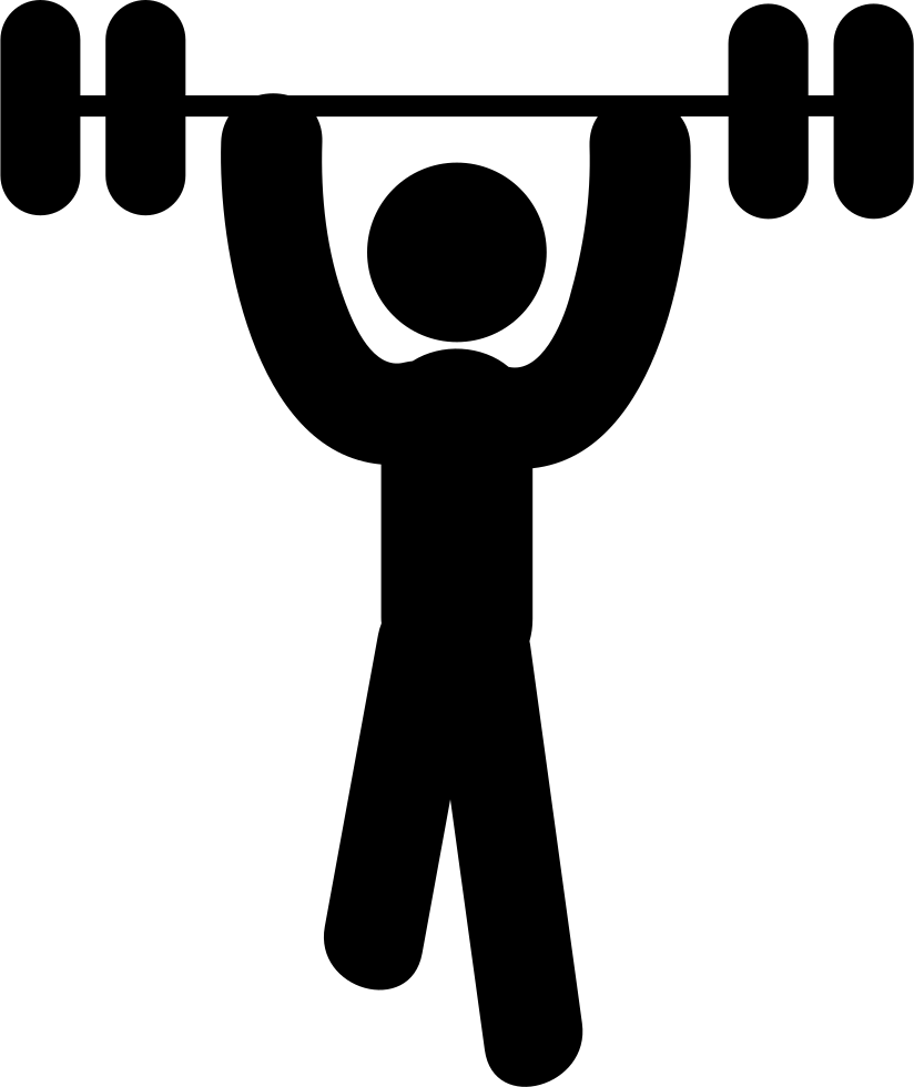 Weights svg cowbell. Man lifting png icon