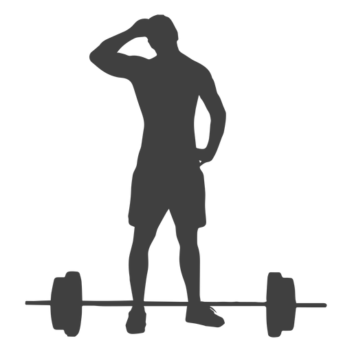 Barbell transparent loaded. Man and silhouette png