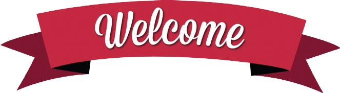 Welcome banner png. Classic red transparent stickpng