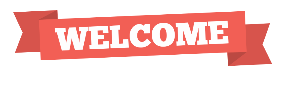 Simple red banner png. Transparent welcome graphic library download