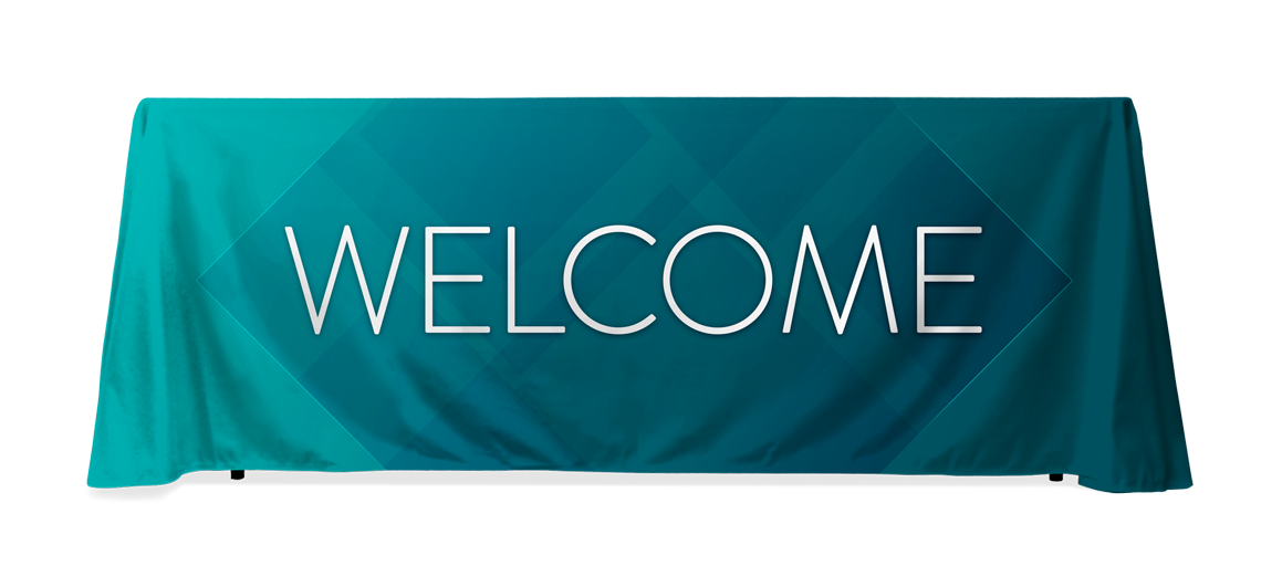 Welcome banner png. Church table throws center