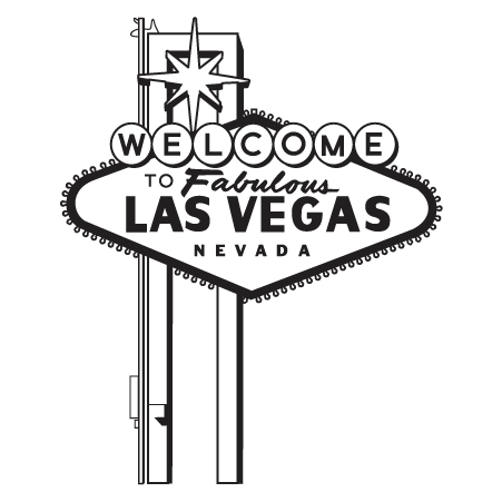 Transparent welcome outline. Las vegas sign wall
