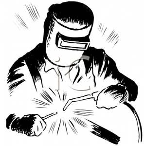 Welding clipart guy. A black and white
