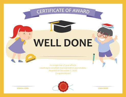 Well clipart participation ribbon. Printable award certificates