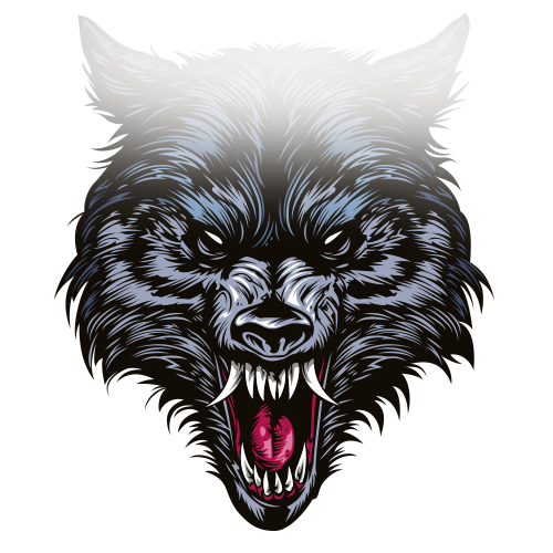 Fang drawing werewolf. Gray wolf illustration avatar