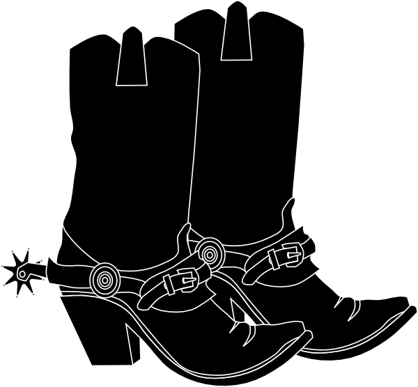 Black boots . Western clipart arrow clipart black and white stock