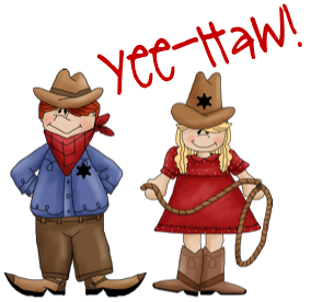 Western clipart child. Cowboy and horse at