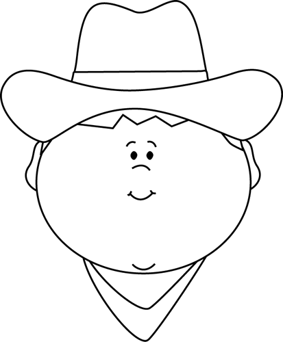 Western clipart face. Black and white cowboy