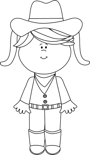Western clipart face. Black and white cowgirl