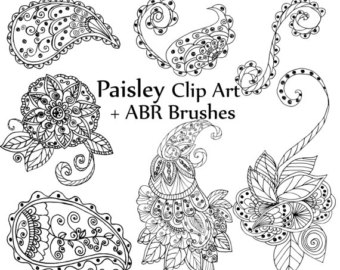 Etsy digital stamp doodles. Western clipart paisley vector library