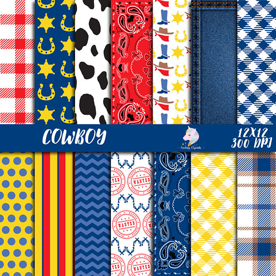 Western clipart paisley. Cowboy digital paper pack