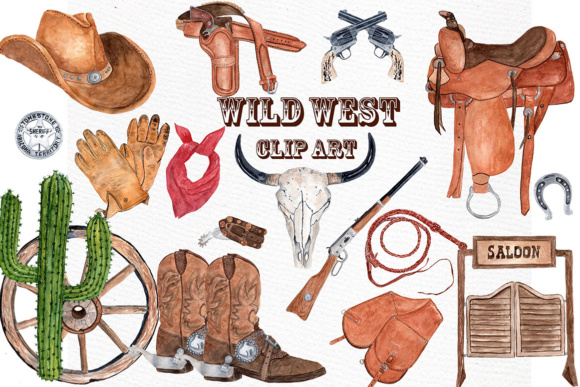 Graphic by lecoqdesign creative. Western clipart watercolor png transparent stock