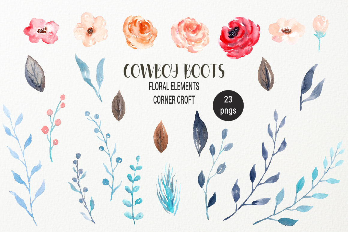 Western clipart watercolor. Cowboy boots collection by