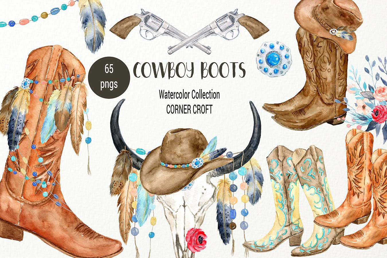 Cowboy boots collection illustrations. Western clipart watercolor clipart