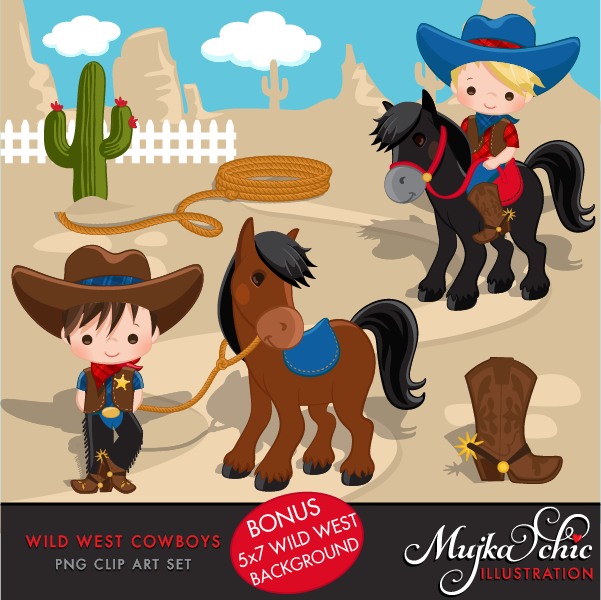 Western clipart wild west. Cute cowboy red blue