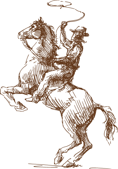 Ranch drawing western. Cowboy on horse smith