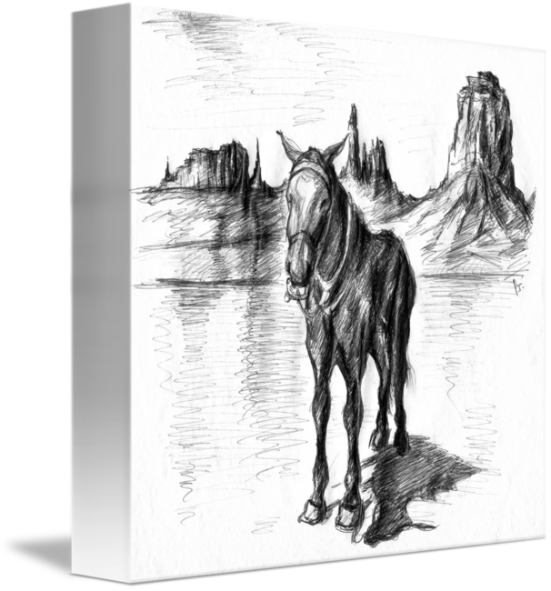 Western drawing art. Monument valley mule by