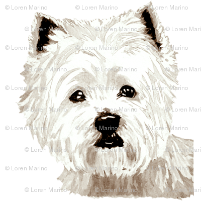 Westie drawing. West highland terrier wallpaper
