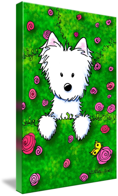 Westie drawing baby dog. Rose garden spring by