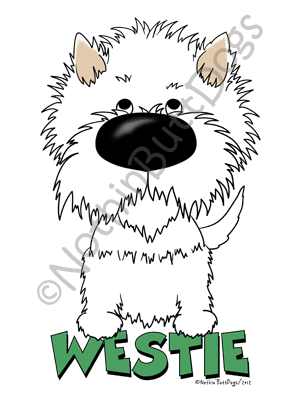 Westie drawing cartoon. Big nose west highland