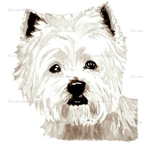 Westie drawing pencil. West highland terrier fabric