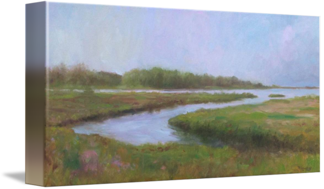 Morning barn island by. Drawing rivers soft pastel banner royalty free library