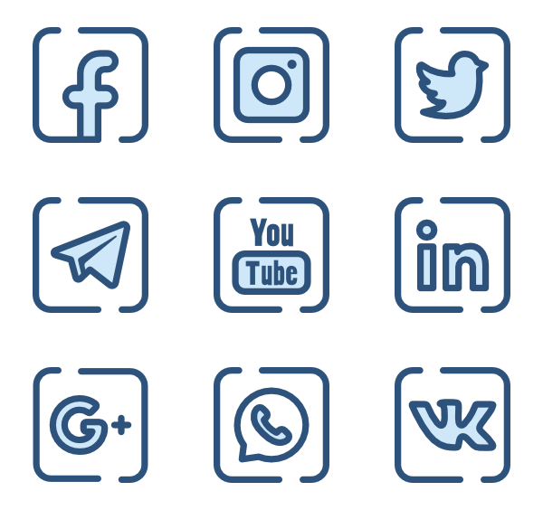 Redes sociales png icons. Monochrome icon family blue