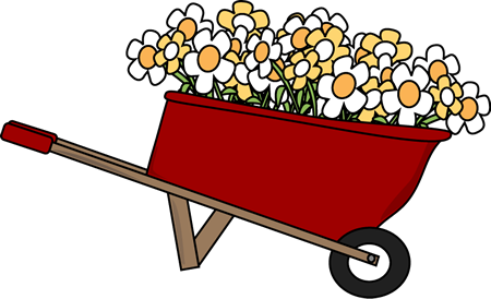 Wheelbarrow clipart feed cat. Cliparts with flowers