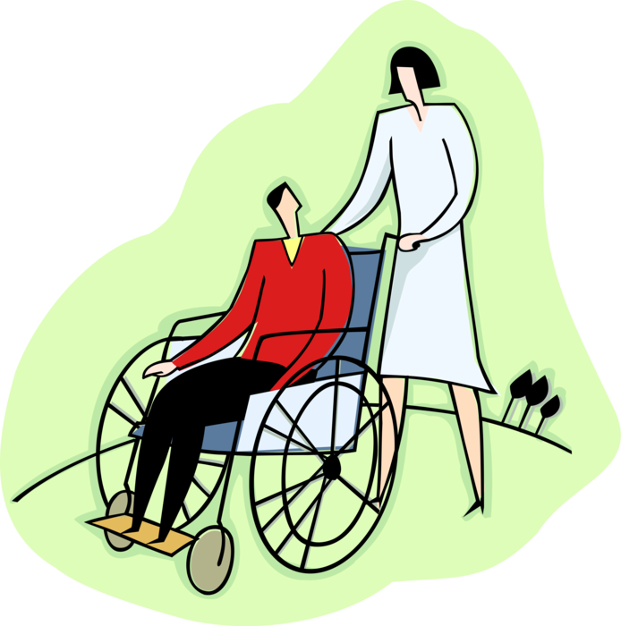 Wheelchair clipart nurse wheelchair. Pushes patient in vector