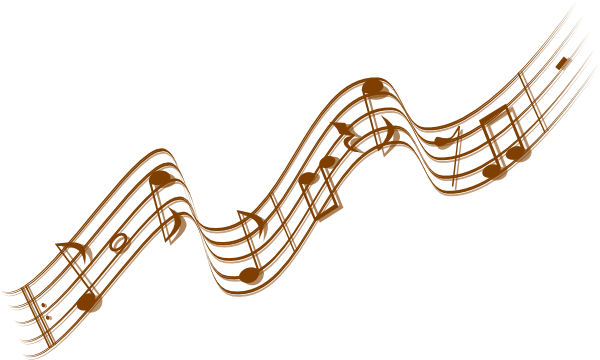 Whimsical music notes png. Trumpet clip art gold