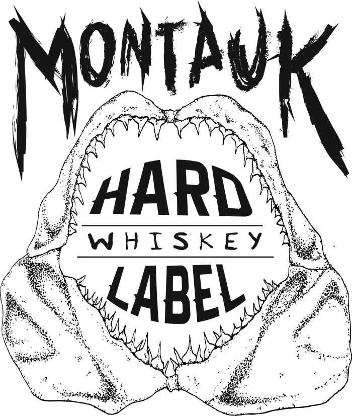 Whiskey drawing line. Montauk hard label