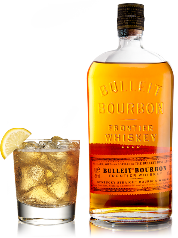 Whiskey drawing old fashioned drink. Bulleit bourbon prize draw