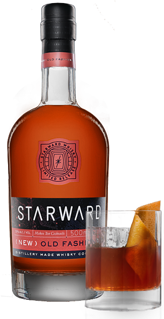 Whiskey drawing old fashioned drink. Starward whisky new cocktail