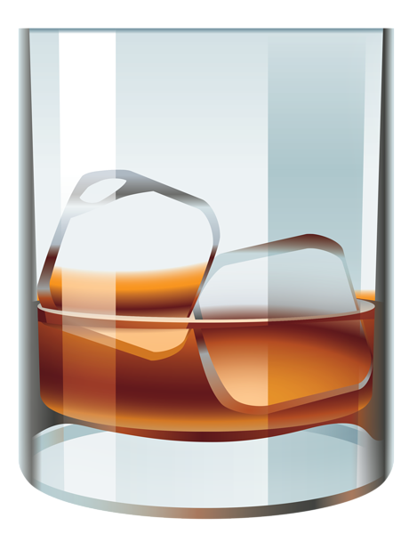 Whiskey drawing vector. Glass with and ice