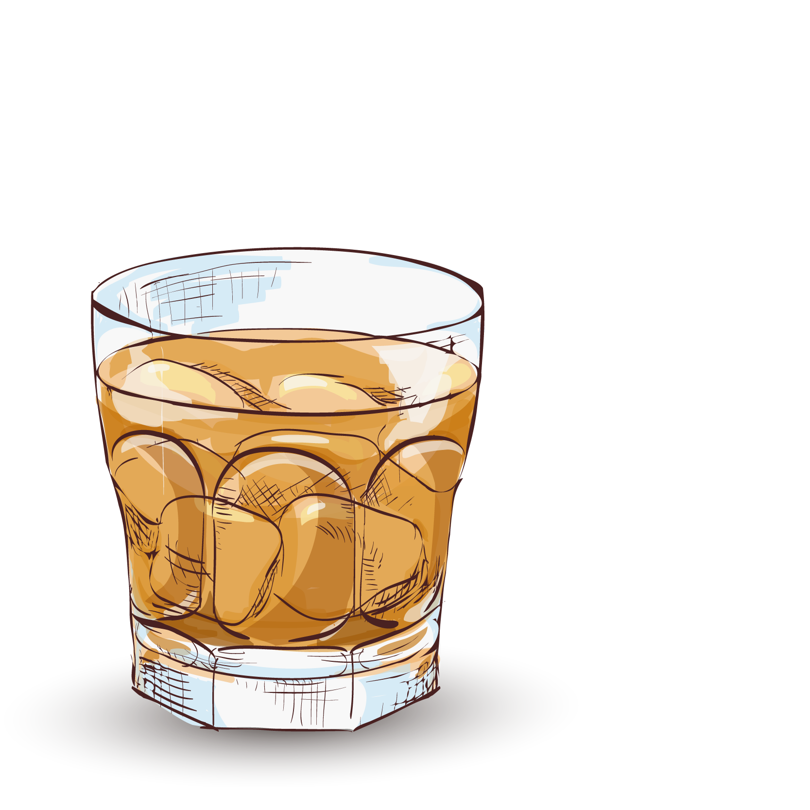 Whiskey vector old fashioned glass. Whisky cocktail godfather vodka